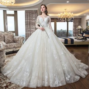 Romantic Champagne See-through Wedding Dresses 2019 Ball Gown Square Neckline 3/4 Sleeve Backless Star Appliques Lace Cathedral Train Ruffle