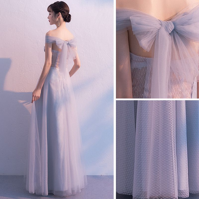 Elegant Grey Prom Dresses 2019 A-Line / Princess Off-The-Shoulder Lace Flower Pearl Backless Bow Sleeveless Floor-Length / Long Formal Dresses