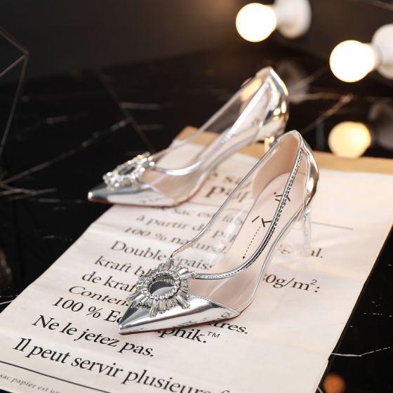 Sjarmerende Sølv Aften Pumps 2019 Patent Lær Krystall Rhinestone 7 cm Stiletthæler Spisse Pumps