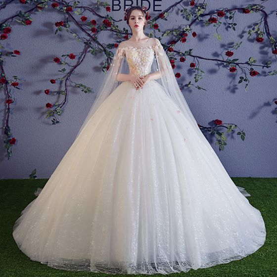 Colored Ivory See-through Wedding Dresses 2018 Ball Gown Scoop Neck Sleeveless Appliques Flower Beading Pearl Glitter Tulle Ruffle Watteau Train