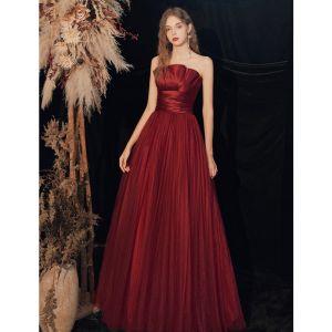 Chic / Belle Bordeaux Robe De Bal 2020 Princesse Bustier Sans Manches Dos Nu Longue Robe De Ceremonie