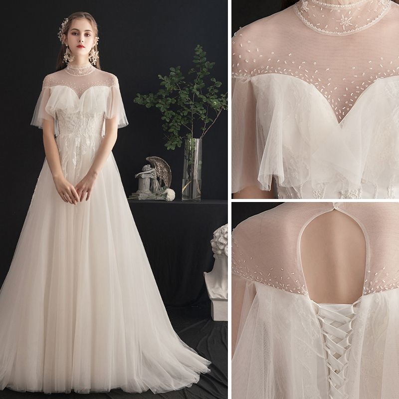 Light Champagne Wedding Dresses 2019 A-Line / Princess High Neck Beading Crystal Lace Flower Short Sleeve Backless Sweep Train