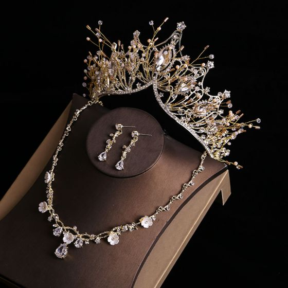 Hermoso Oro Tiara Pendientes Flor Collares Joyas 2019 Metal Rhinestone Rebordear Boda Accesorios