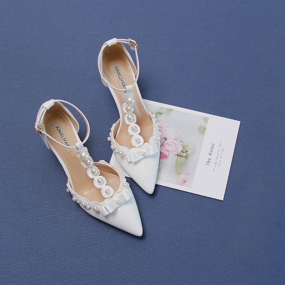 Elegant Ivory Pearl Wedding Shoes 2020 Ankle Strap Bow 9 cm Stiletto Heels Pointed Toe Wedding Heels
