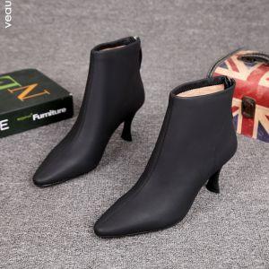 Minimalistisk   Vinter Svart Gateklær Lær Kvinners støvler 2021 7 cm Stiletthæler Spisse Ankel Boots