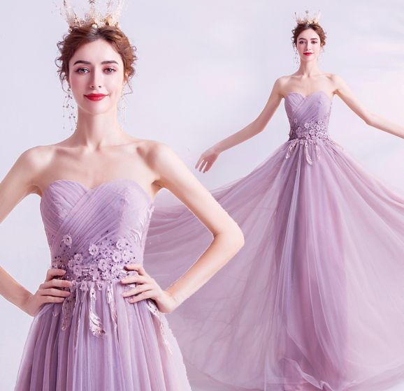 Charming Lilac Evening Dresses  2020 A-Line / Princess Strapless Beading Sequins Crystal Appliques Lace Flower Sleeveless Backless Floor-Length / Long Formal Dresses