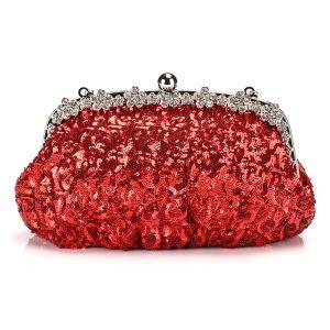 Scintillantes Rouge Paillettes Faux Diamant Métal Pochette 2018