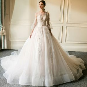 Glamorous Champagne See-through Wedding Dresses 2019 Ball Gown Scoop Neck Puffy 3/4 Sleeve Appliques Lace Cathedral Train Ruffle