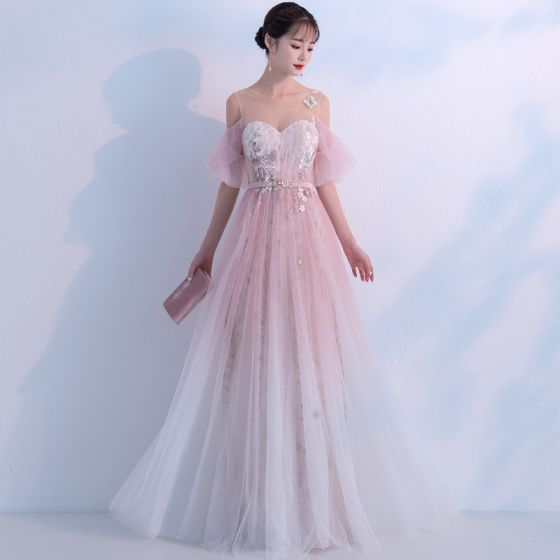 Affordable Blushing Pink Gradient-Color Ivory See-through Evening Dresses  2018 A-Line / Princess Scoop Neck 1/2 Sleeves Appliques Lace Metal Sash Floor-Length / Long Ruffle Backless Formal Dresses