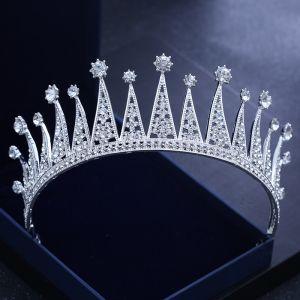 Sparkly Silver Wedding Tiara 2018 Metal Rhinestone Accessories