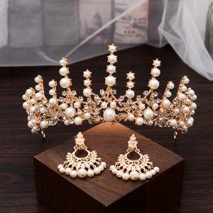 Klassisk Guld Brudesmykker 2020 Metal Perle Rhinestone Øreringe Tiara Bryllups Accessories