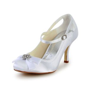 Beautiful Bridal Wedding Shoes 3 Inch Heels Pumps With Rhinestone Bow