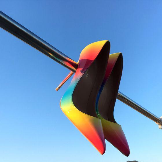 Mooie / Prachtige Regenboog Afspraak Pumps 2019 Leer Multi-Kleuren 10 cm Naaldhakken / Stiletto Spitse Neus Pumps