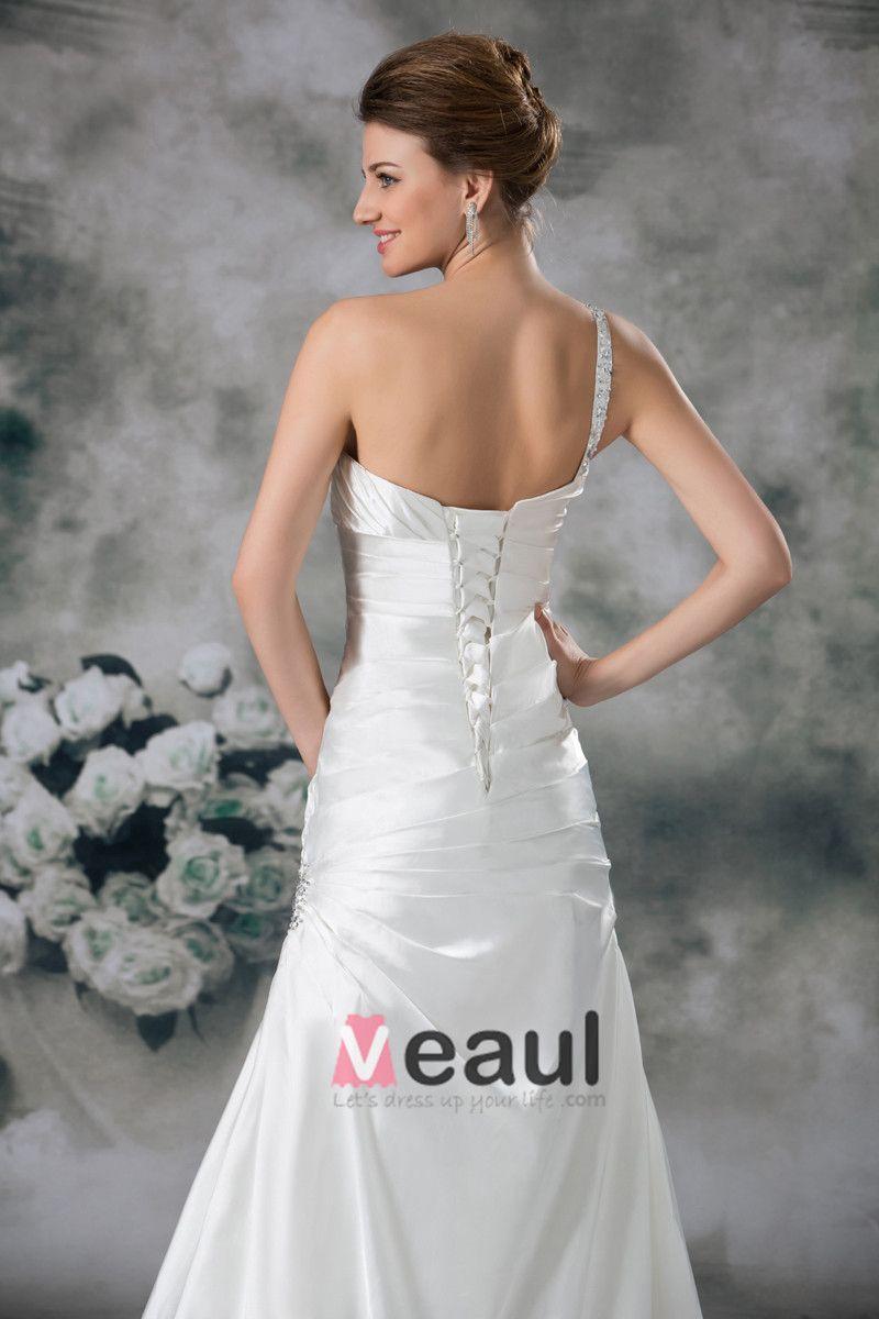 Satin Sequins One Shoulder Ruffle Court Train Sheath Wedding Dress