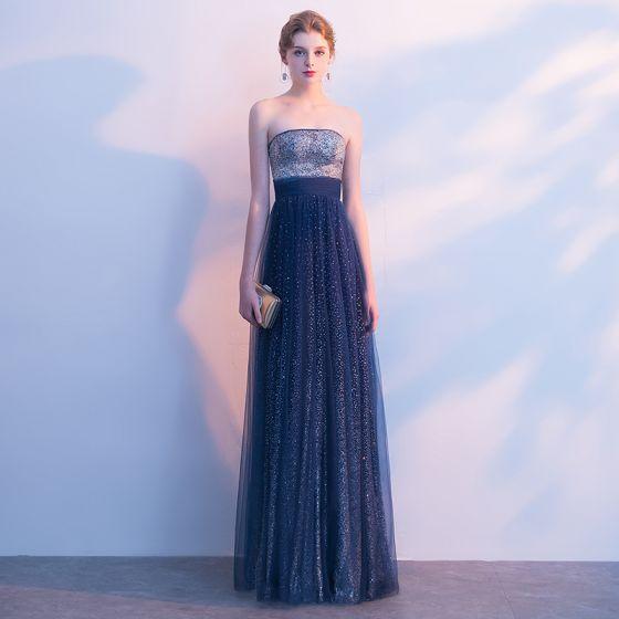 Sparkly Navy Blue Starry Sky Evening Dresses  2017 A-Line / Princess Glitter Rhinestone Strapless Backless Sleeveless Floor-Length / Long Formal Dresses