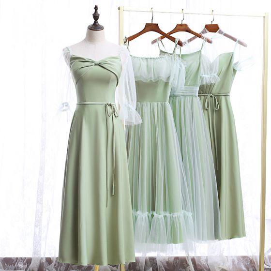 Chic / Beautiful Sage Green Bridesmaid Dresses 2020 A-Line / Princess Backless Tea-length Ruffle