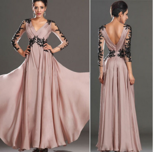 Chic / Beautiful Pearl Pink Maxi Dresses 2018 A-Line / Princess Lace Flower V-Neck Backless Long Sleeve Floor-Length / Long Women's Clothing