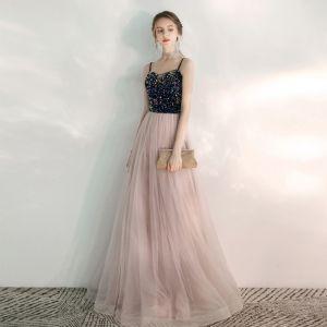 Elegante Rosa Abendkleider 2020 A Linie Spaghettiträger Ärmellos Pailletten Perlenstickerei Lange Rüschen Rückenfreies Festliche Kleider