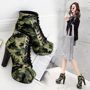 Chic / Beautiful Army Green Camouflage Street Wear Womens Boots 2020 Lace-up 11 cm Thick Heels Round Toe Boots
