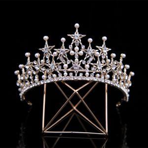 Klassisk Gull Har Tilbehor 2020 Metall Perle Stjerne Rhinestone Tiara Bryllups Tilbehør