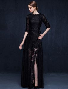 Charming Black Lace Evening Dress Long Formal Dress With Half Sleeves