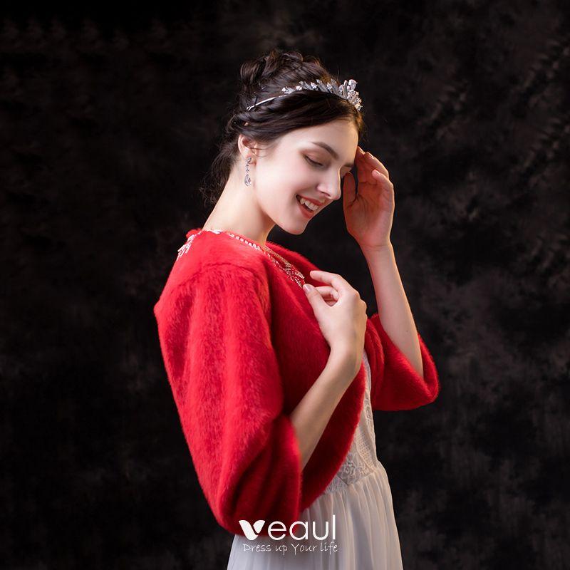 Winter-k/ünstlicher Pl/üsch-Perlen-W/ölbungs-Pelz Stahl Frauen-Schal-eleganten Schal F/ür Hochzeitszeremonie Wei/ß Hochzeits-Schal