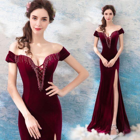 Sexy Burgundy Evening Dresses  2019 Trumpet / Mermaid Off-The-Shoulder Suede Beading Tassel Short Sleeve Backless Split Front Floor-Length / Long Formal Dresses