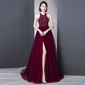 Schöne Burgunderrot Abendkleider 2018 A Linie Stehkragen Tülle Rückenfreies Perlenstickerei Pailletten Abend Festliche Kleider