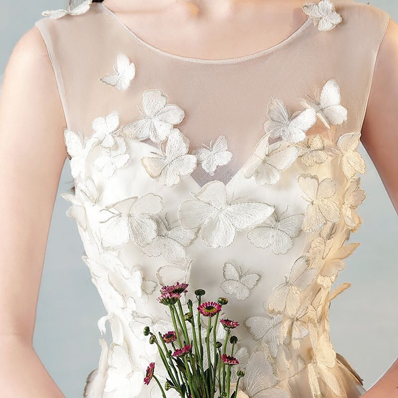 Moderne / Mode Ivoire Transparentes Robe De Soirée 2018 Princesse Encolure Dégagée 3/4 Manches Papillon Appliques En Dentelle Longue Volants Robe De Ceremonie