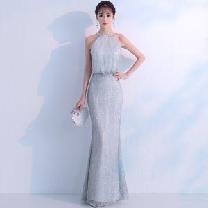 Bling Bling Grey Evening Dresses  2018 Trumpet / Mermaid Scoop Neck Sleeveless Glitter Tulle Floor-Length / Long Ruffle Formal Dresses