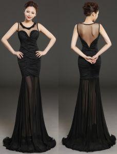 Glamourösen Abendkleider 2016 Sicke Rundhalsausschnitt Plissierten Schwarzen Chiffon Rückenfrei Langen Kleid