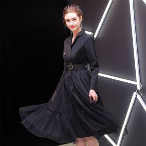 Elegant Black Evening Dresses  2019 A-Line / Princess V-Neck Sash Long Sleeve Tea-length Formal Dresses