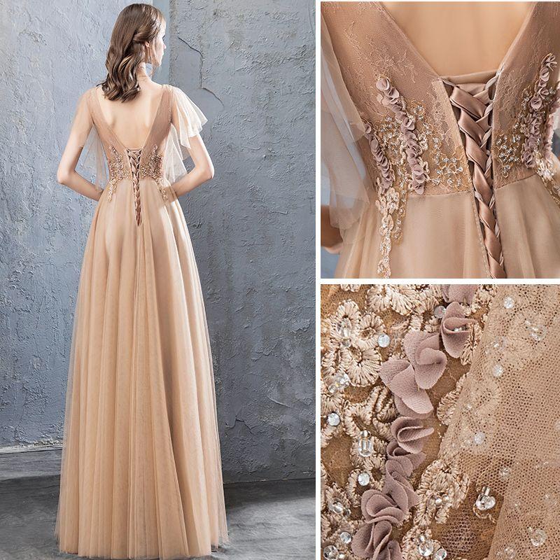 Moderne / Mode Champagne Robe De Soirée 2019 Princesse En Dentelle Fleur Appliques Faux Diamant V-Cou Dos Nu Manches Courtes Longue Robe De Ceremonie