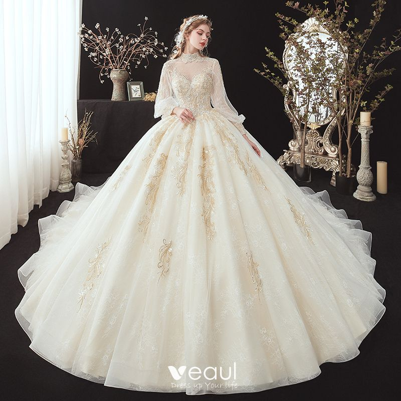 Victorian Style Champagne See Through Bridal Wedding Dresses 2020 Ball Gown High Neck Puffy Long Sleeve