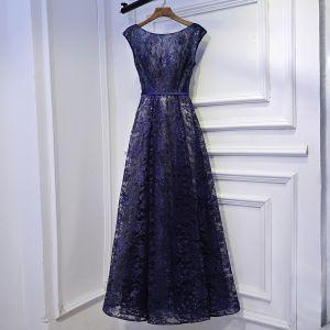 Piękne Granatowe Sukienki Wizytowe Sukienki Na Bal 2017 Z Koronki Kwiat Wiązane Wycięciem Kótkie Rękawy Długość Kostki Princessa