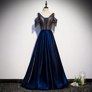 Best Royal Blue Satin Evening Dresses  2020 A-Line / Princess V-Neck Short Sleeve Beading Tassel Floor-Length / Long Ruffle Backless Formal Dresses