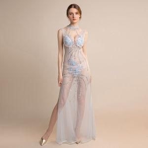 Sexy Sky Blue See-through Evening Dresses  2018 Sheath / Fit High Neck Sleeveless Appliques Lace Beading Tassel Split Front Floor-Length / Long Ruffle Backless Formal Dresses