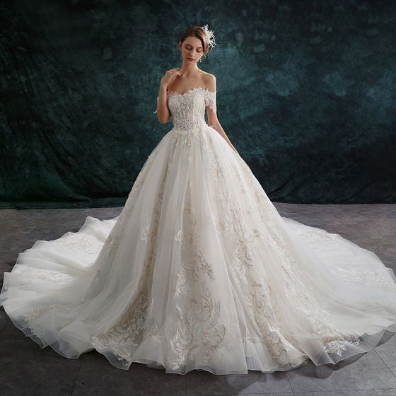Audrey Hepburn Style Ivory Wedding Dresses 2019 A-Line / Princess Off-The-Shoulder Sequins Crystal Lace Flower Short Sleeve Backless Cathedral Train