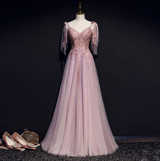 Charming Blushing Pink Evening Dresses  2019 A-Line / Princess Spaghetti Straps Bow Beading Lace Flower Sleeveless Backless Floor-Length / Long Formal Dresses