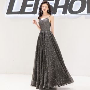 Charming Black Evening Dresses  2019 A-Line / Princess Spaghetti Straps Star Sequins Sleeveless Backless Floor-Length / Long Formal Dresses