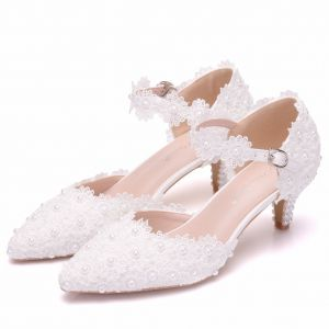 Chic / Beautiful White Wedding Shoes 2018 Lace Pearl Buckle 5 cm Stiletto Heels Pointed Toe Wedding High Heels
