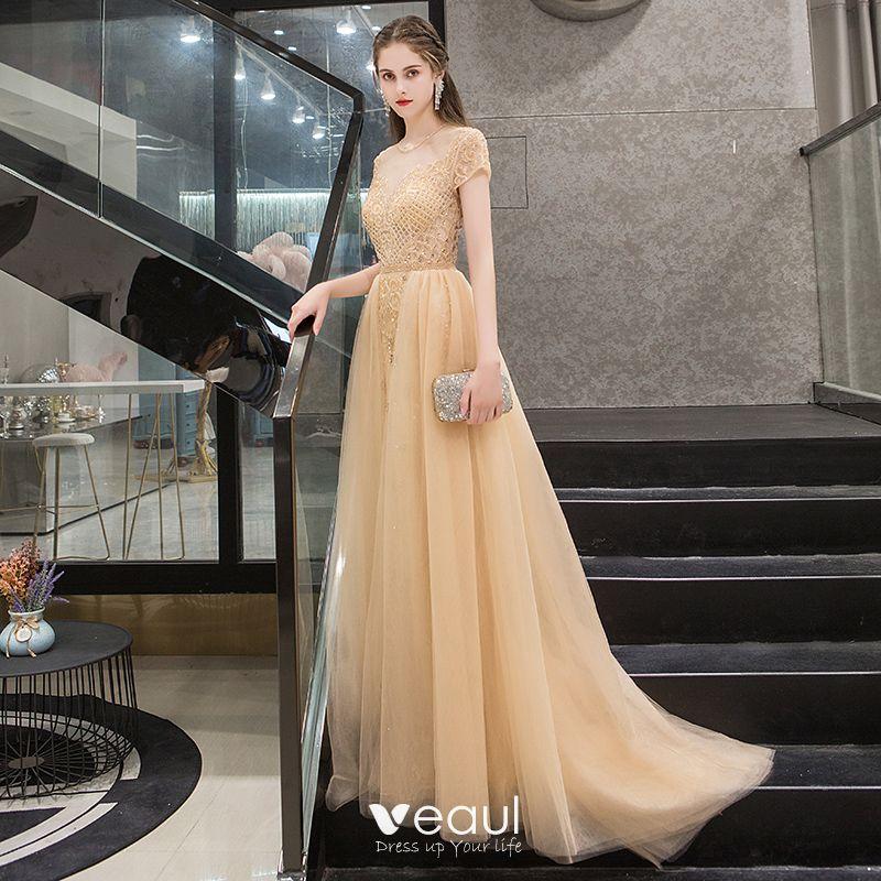 5c1a6cd030 Illusion Gold See-through Evening Dresses 2019 A-Line / Princess Scoop Neck  Short Sleeve Rhinestone Beading Sweep Train Ruffle Formal Dresses