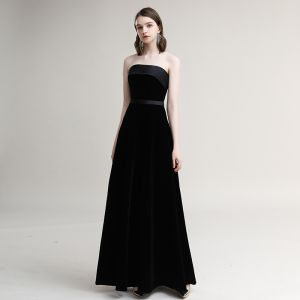 Modest / Simple Black Evening Dresses  2020 A-Line / Princess Suede Strapless Sleeveless Backless Floor-Length / Long Formal Dresses