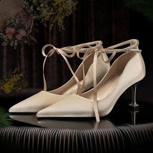 Eleganta Champagne Brudskor 2020 Satin Rhinestone Rosett 7 cm Stilettklackar Spetsiga Bröllop Pumps