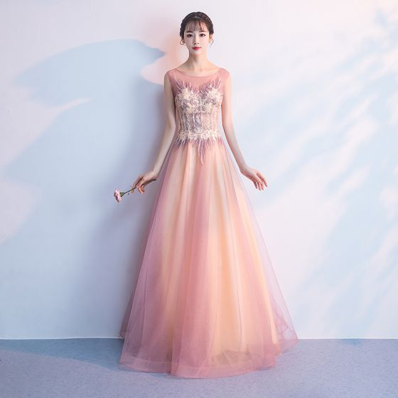 Chic / Beautiful Blushing Pink Floor-Length / Long Evening Dresses  2018 A-Line / Princess Tulle U-Neck Appliques Backless Beading Sequins Evening Party Formal Dresses