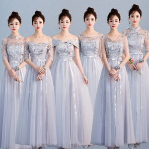 Affordable Chic / Beautiful Grey Bridesmaid Dresses 2019 A-Line / Princess Sash Appliques Lace Floor-Length / Long Ruffle Backless Wedding Party Dresses