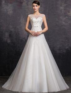 Elegant A-ligne Décolleté Carré Paillettes De Perles Organza Robe De Mariée