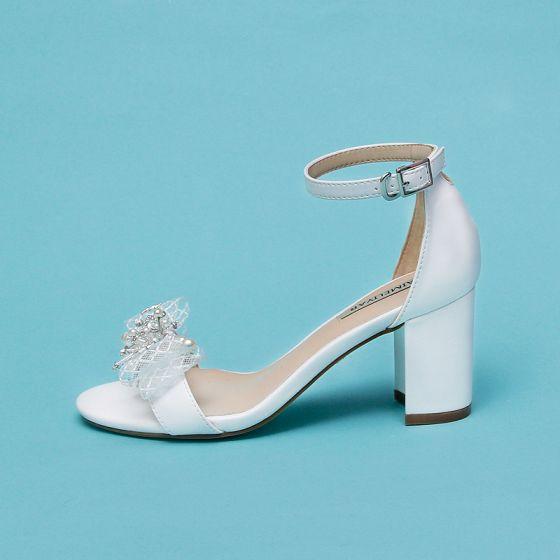 Chic / Beautiful Ivory Dating Womens Sandals 2020 Pearl Rhinestone Bow 7 cm Stiletto Heels Open / Peep Toe Sandals