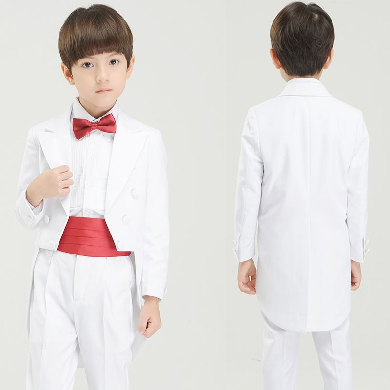 Modest / Simple White Long Sleeve Boys Wedding Suits Tailcoat 2017