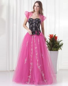 Ball Gown Beautiful Beading Embroidery Floor Length Flower Decoration Sweetheart Tulle Quinceanera Prom Dress